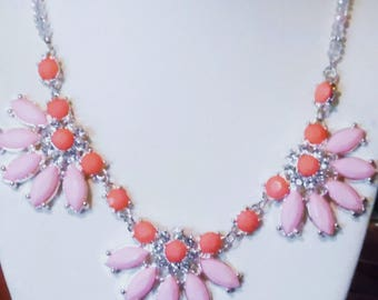 Pink Bib Necklace, Crystal Beaded Necklace, Pink Faceted Crystal Leaves, CrystalStrand Necklace, Statement Necklace,Gifts for Her