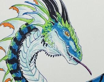 ORIGINAL ART - Fantasy Dragon Copic Marker Traditional Artwork