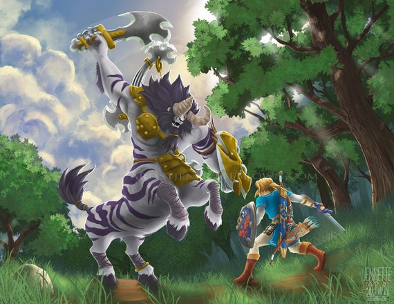 The Legend Of Zelda Breath Of The Wild Link Lynel Battle Hyrle Fan Art Prints And Posters