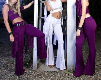 Belle Bottom Dancepants, Low Rise, Fitted and Flared Leg, with Lace Flare Inserts, Boho Pants, Hooping, 70's Flares, Yoga Pants, Ibiza Style