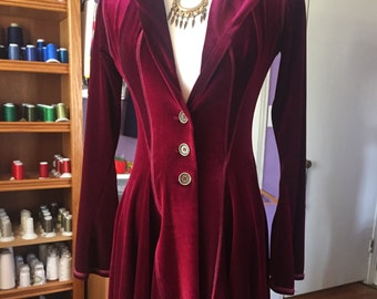 Diana Long Fitted Jacket Hooded Maxi Coat SMALL ONLY, Stretch Red Velvet, Buttons, Pockets, Priestess Robe, Game of Thrones Melisandre