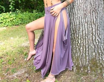 Kara Maxi Tribal Skirt with Side Slit Openings   Bellydance, Fairy, Festival, Exotic, Burning Man, Fantasy Costume, Other Custom Colors