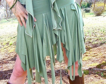 Ragamuffin Fairy Skirt, Also Top, Scarf, Danceskirt, Burning Man, Festival, Pagan, Tribal Costume, Elven, Woodland Nymph, Boho, Other Colors