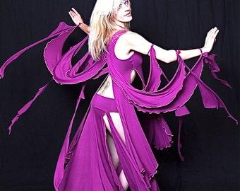 Gaia Goddess Fairy Wings Dance Top,  Performance wear, Theater, Bellydance, Showgirl Costume, Priestess, Elven, Dark Fairy