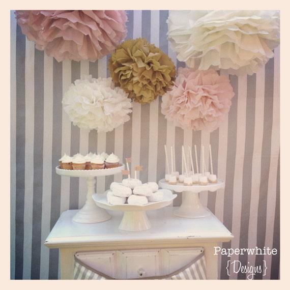 Tissue Paper Pom Poms Baby Shower Decorations Girl Baby Shower Decorations Vintage Wedding Blush And Gold Wedding Bridal Shower Decor