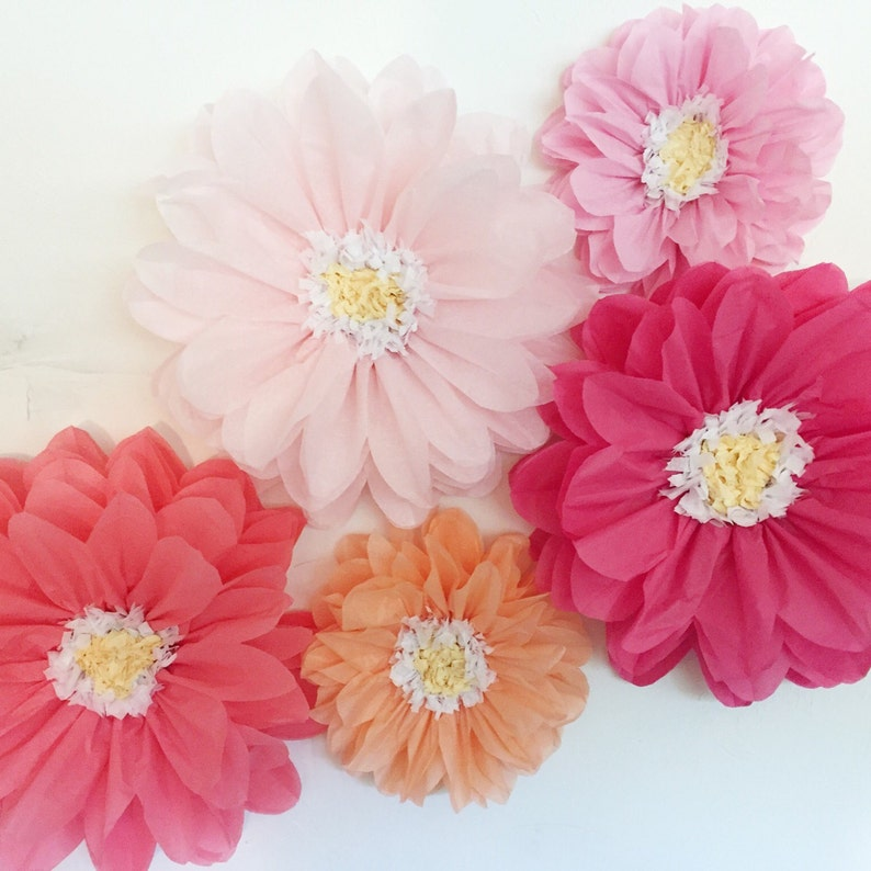 Tissue Paper Flowers Wedding Backdrop First Birthday Party Flower Wall Unique Wedding Decorations Paper Flower Wall Cheap Wedding Idea