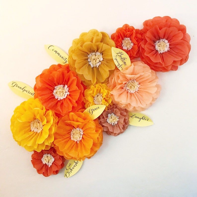 Tissue Paper Flowers Set Of 10 Thanksgiving Flower Wall Fall Decorations Gratitude Tree I M Thankful For Thankful Tree