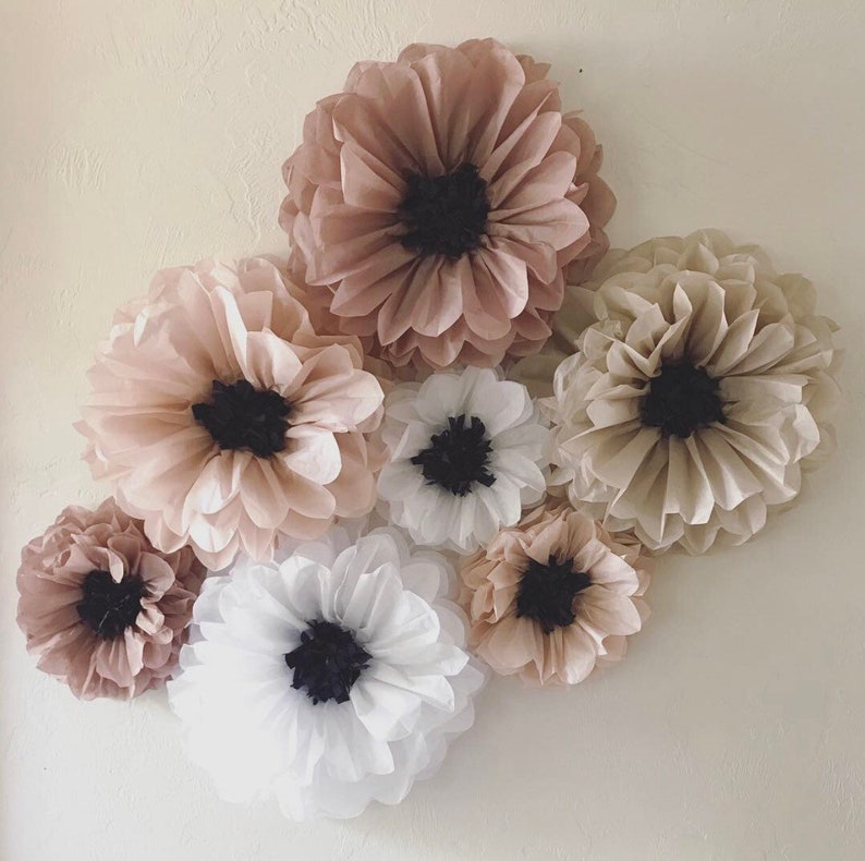 Tissue Paper Flowers Set Of 7 Wedding Backdrop First Birthday Party Unique Wedding Decorations Paper Flower Wall Cheap Wedding Idea