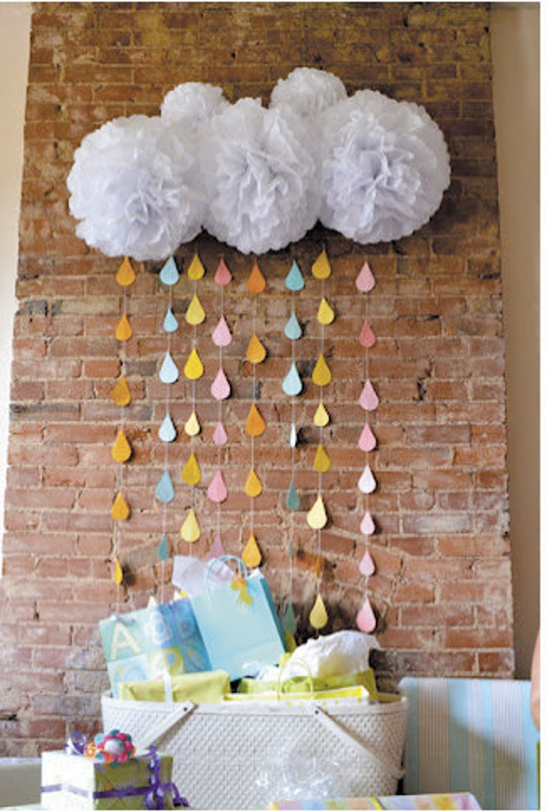 White Tissue Paper Pom Poms and Rain Drop Garland // cloud and image 0