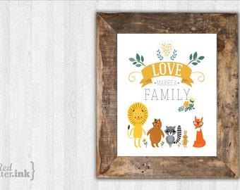 Wall Art - Loves Makes A Family - 8 x 10 Print