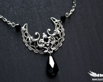 Crescent Moon Necklace - Silver Gothic Necklace with Black crystals - Moon Pendant - Victorian Gothic Jewelry