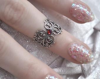 Gothic Midi Ring - Filigree Knuckle Ring with Swarovski Crystal - Silver Midi Ring