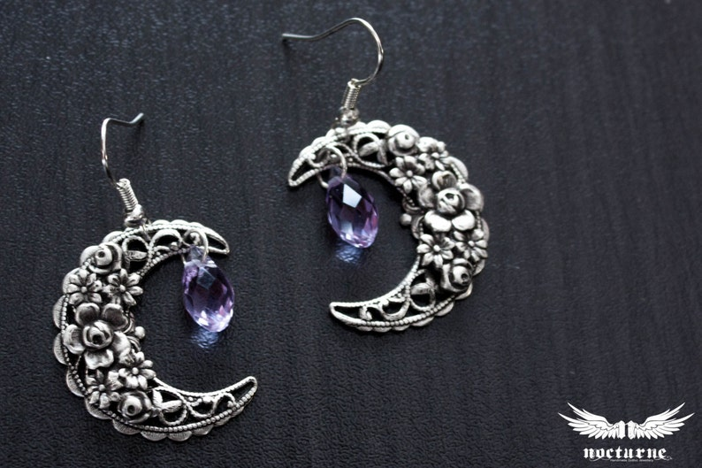 23cc4b52f Crescent Moon Earrings with Purple Swarovski Crystals Dangle | Etsy