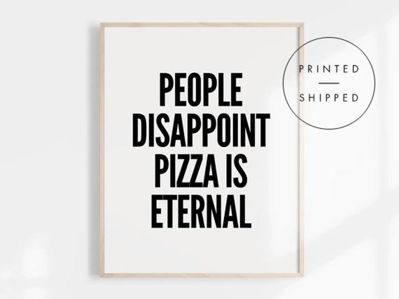 Black And White Kitchen Wall Decor Black and White Art Pizza Sign Kitchen Wall Art Funny | Etsy
