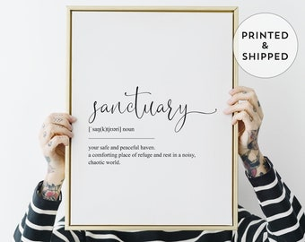 Sanctuary Definition Print, Black and White Wall Art, High-quality Giclee Poster, Housewarming Gift Idea