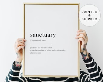 Sanctuary Definition Wall Art, Black and white print, Scandinavian wall decor, Funny definition, True high-quality giclee poster