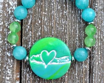 Green, Turquoise,  Silver Long Island Love Bracelet S18-4