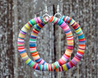 Colorful Beaded Hoop Earrings
