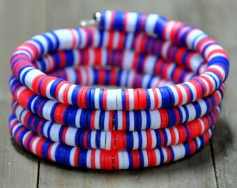 Red, White & Blue Clay Disc Wrap Bracelet
