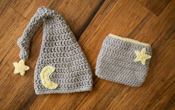Newborn Photo Prop Moon Hat And Diaper Cover Set Long Tail  32774f078cf1