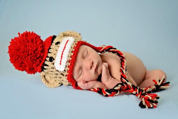 Neugeborene Sock Monkey Hut Baby Sock Monkey Hut mit Zöpfen | Etsy