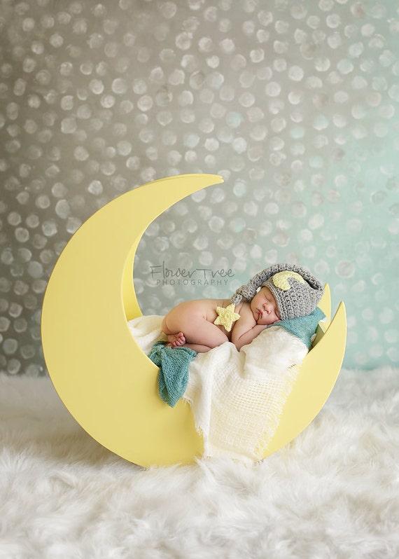 Baby moon hat newborn photo prop sleepy time hat moon and