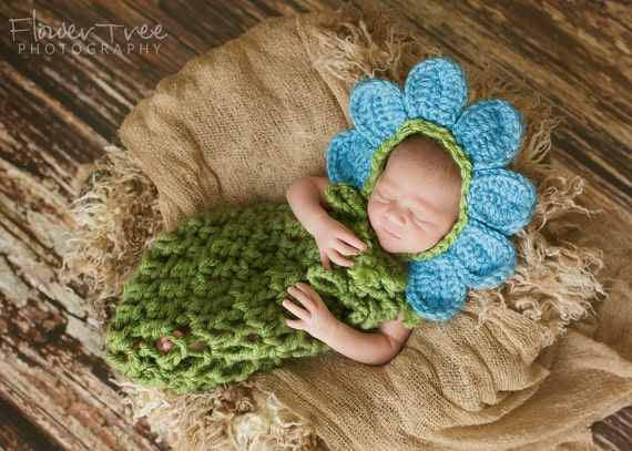Cocoon and Bonnet Set Newborn Baby Photography Props