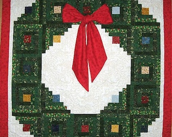 Home for Christmas - Log Cabin Wreath Pattern