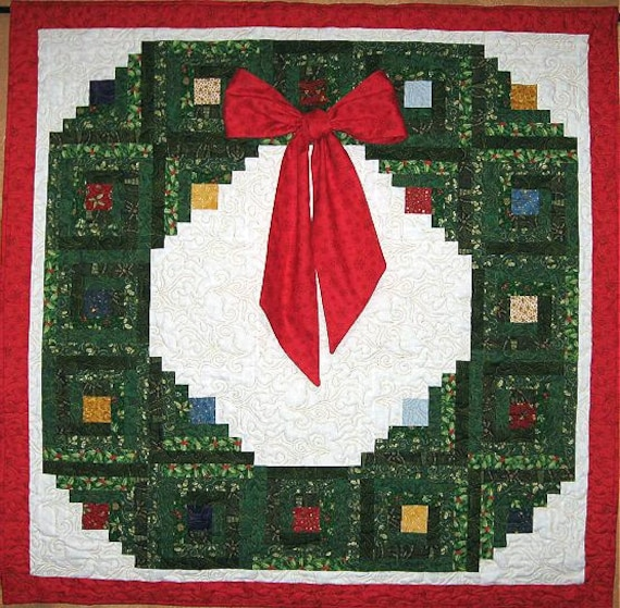 Home For Christmas Log Cabin Wreath Pattern Etsy