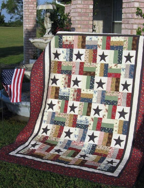 Stars And Stripes A Jelly Roll Quilt Pattern Etsy Custom Jelly Roll Quilt Patterns