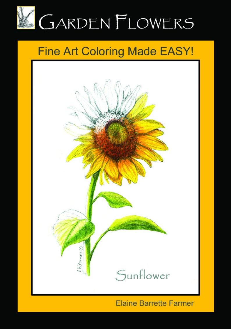 Garden Flower Botanical Coloring Book Sunflower Tulip ...