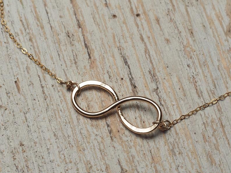 hammered gold infinity necklace minimalist jewelry ildiko jewelry
