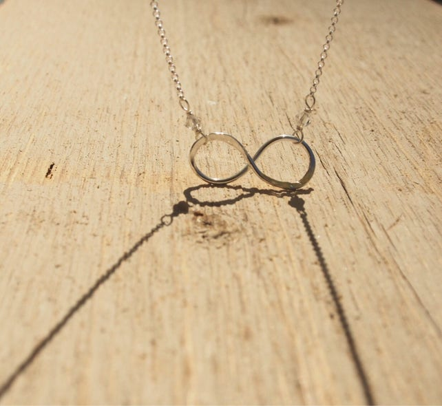 Sterling Silver Infinity Pendant Short Chain Necklace Metis Etsy