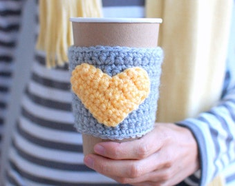 HEART Coffee cozy, Coffee cup sleeve, Cup cozy, yellow and Gray by The Cozy Project