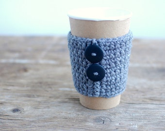 Cup cozy, gray with black buttons by The Cozy Project
