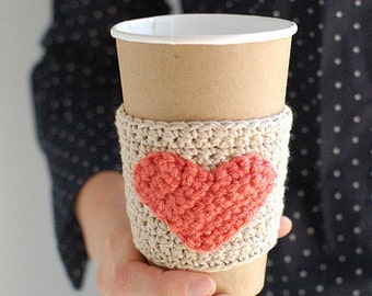 Natural Coffee Cup Cozy, Crochet Coffee Sleeve, Reusable Coffee Cozy with Coral heart by The Cozy Project