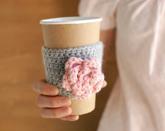 Reusable Coffee Cozy, Coffee Cup Cozy, Crochet Coffee Sleeve, Pink Rose by The Cozy Project