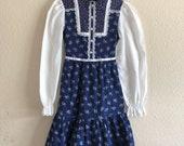 1970s Floral Prairie Dress Kids (6 7)