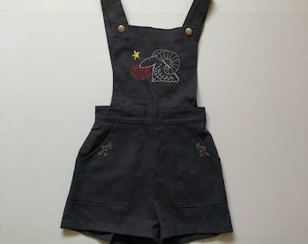 1960's Aries Embroidered Folk Shortalls Kids (10/12)