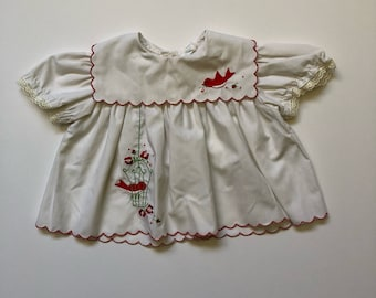 Vintage Caged Bird Scalloped Blouse (12 months)