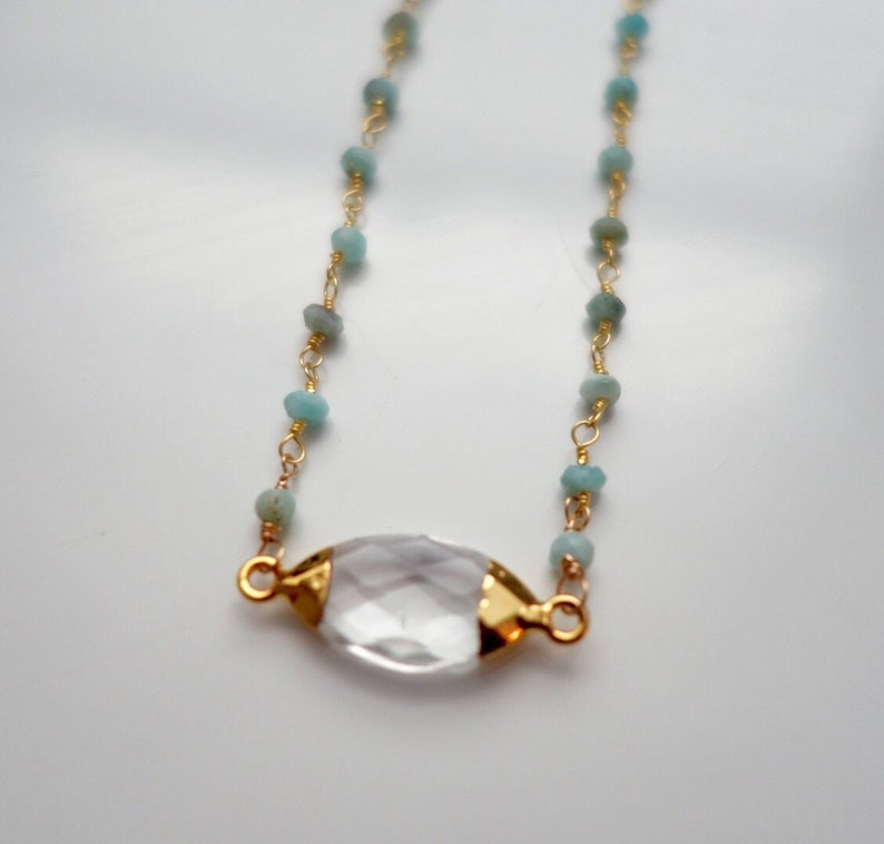 Sparkling Quartz  druzSparkling Quartz  druzy  on  handwoven on 14 karat gold Fill and faceted larimar necklace