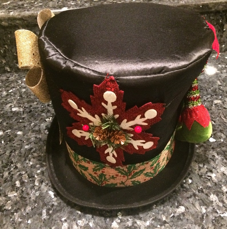 Christmas Top Hat.Christmas Top Hat Free Ship The Elf Top Hat Cos Play Hand Sewn Parts Watch Parts Steam Punk Gear Cog