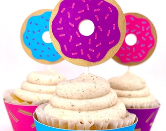 Bright Donut Cupcake Toppers Set of 12  By Your Little Cupcake