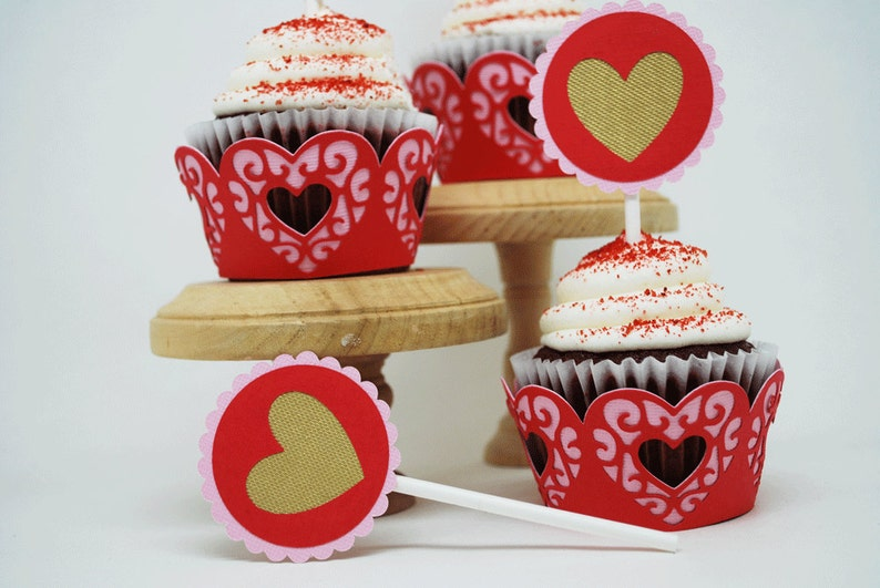 Valentine's Day Heart Cupcake Toppers In Your Choice of image 0