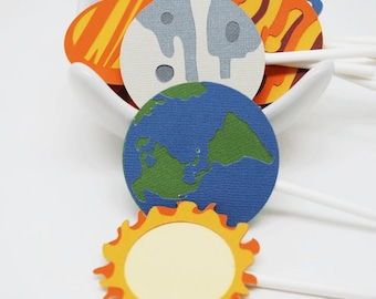 Planet and Sun Cupcake Toppers In Your Choice of Color Qty 9