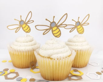 Honey Bee Cupcake Toppers Set of 12  By Your Little Cupcake