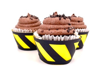 Construction Themed Cupcake Wrappers In Your Choice of Color Qty 12 By Your Little Cupcake