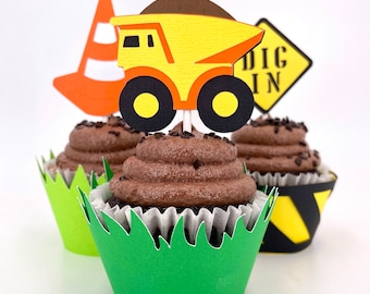 Construction Set Cupcake Toppers In Your Choice of Color Qty 12 By Your Little Cupcake