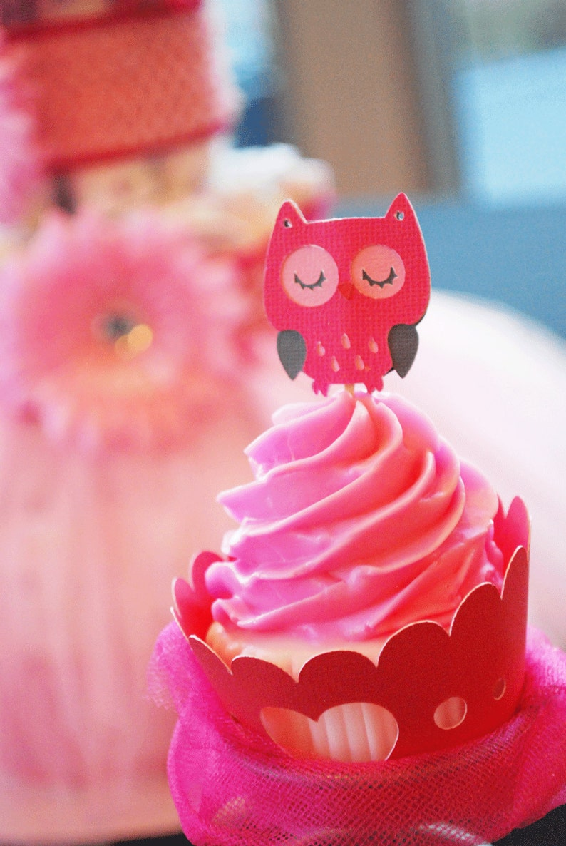 Owl Cupcake Toppers In your choice of color Qty 12 image 0