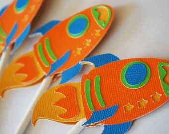 Rocket Ship Cupcake Toppers Set of 12 By Your Little Cupcake